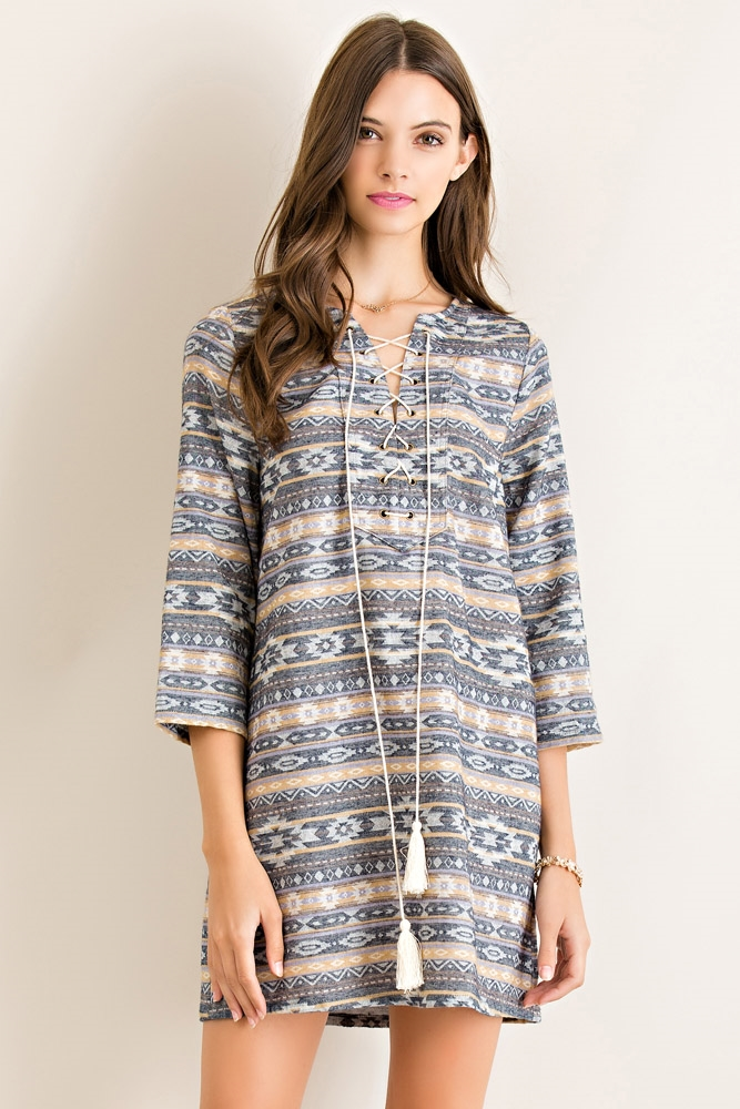 Western Print Shift Dress - orangeshine.com