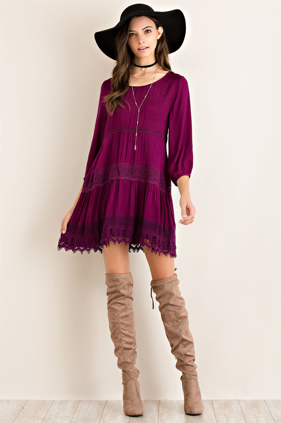 Solid Babydoll Dress - orangeshine.com