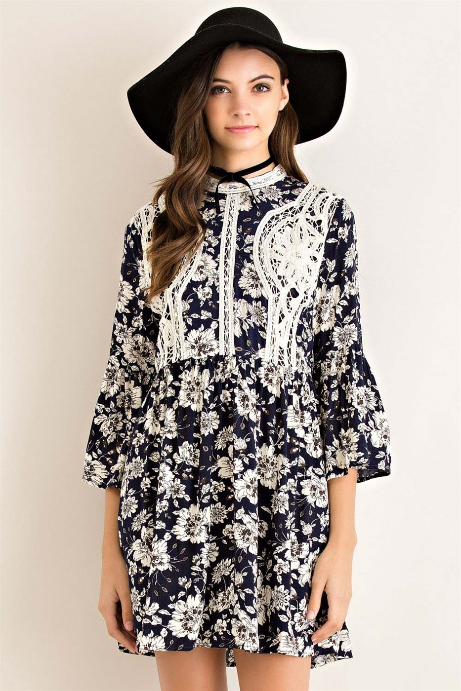 Floral Print Mock Neck Dress - orangeshine.com
