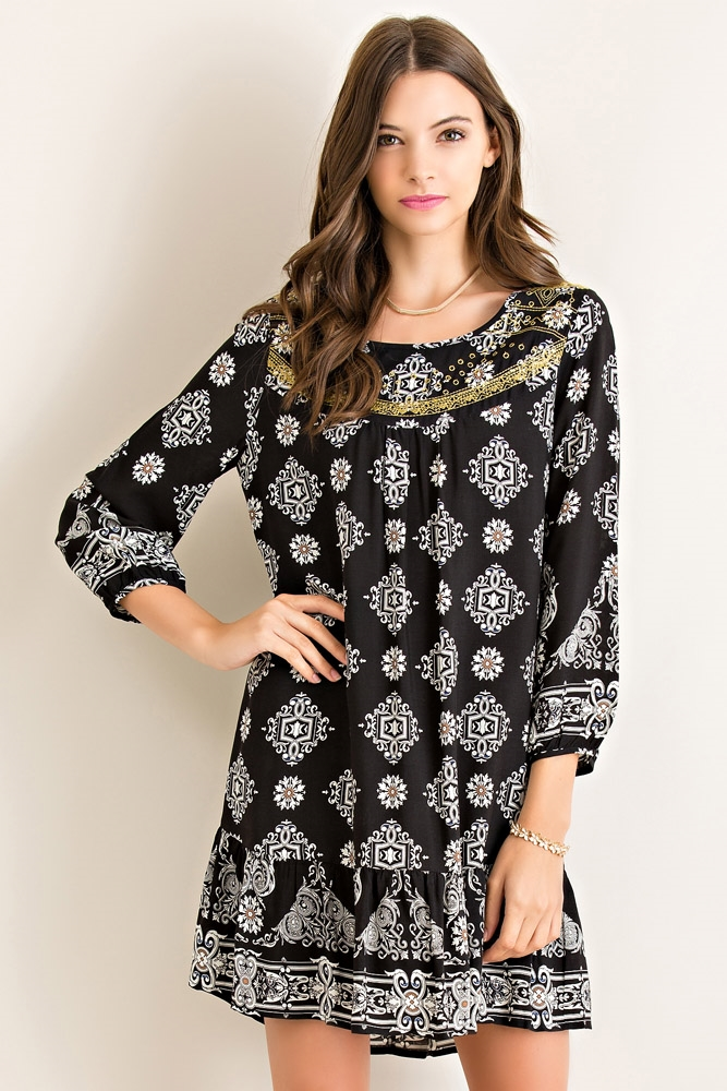 Mandala Print Shift Dress - orangeshine.com