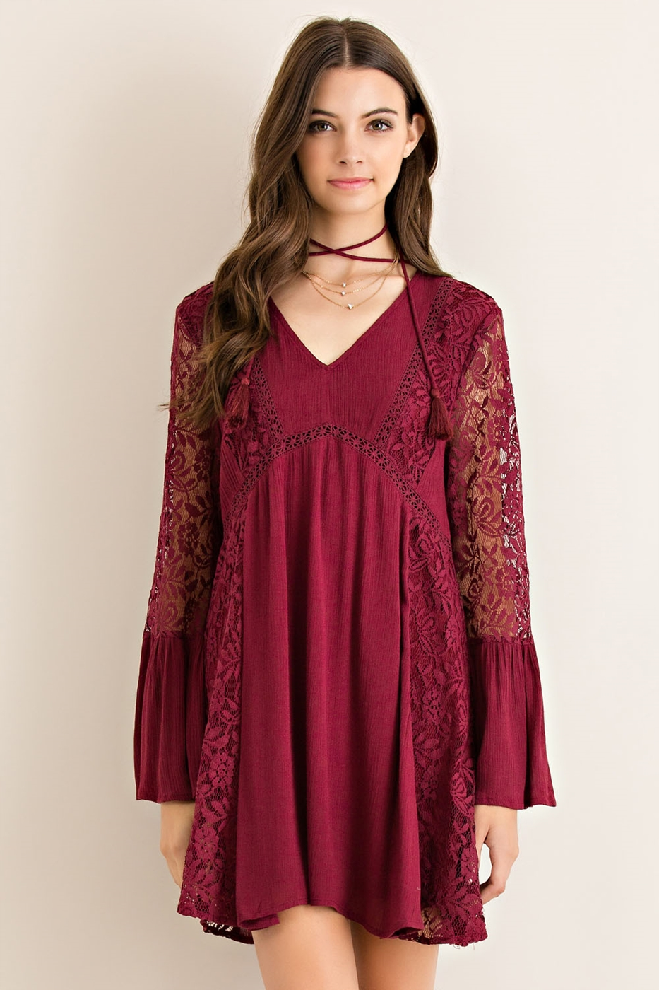 Solid Crinkle Babydoll Dress - orangeshine.com