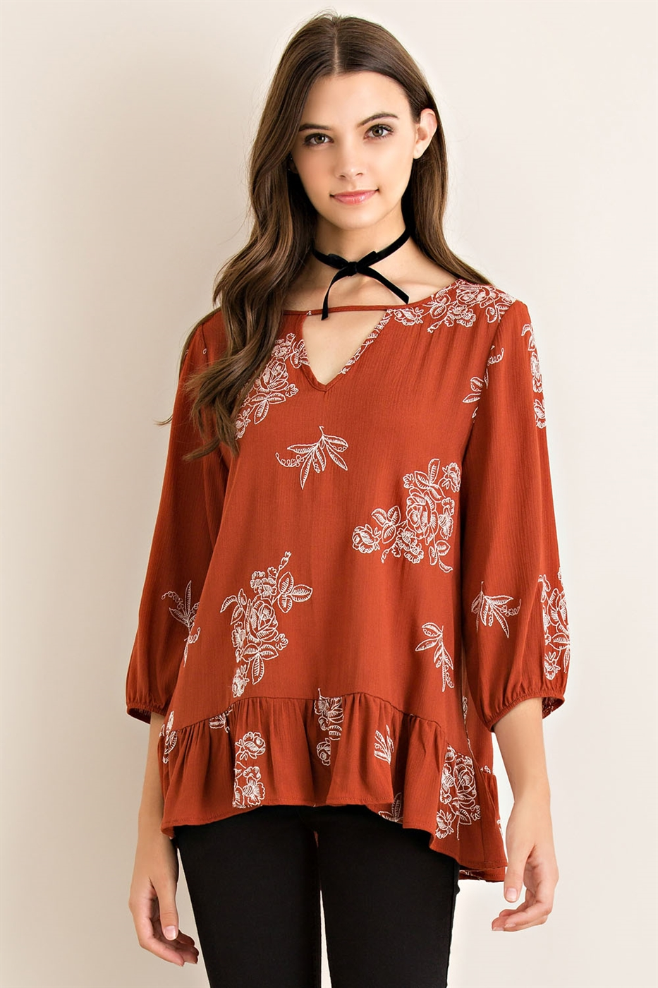 Solid Floral Top - orangeshine.com