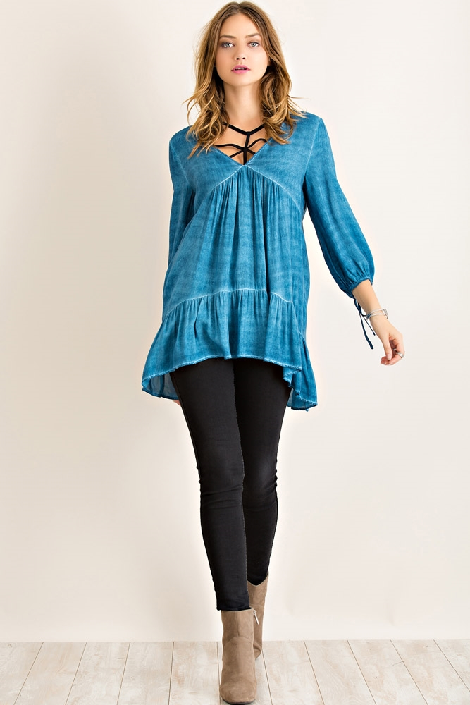 Acid Wash Tunic Top - orangeshine.com