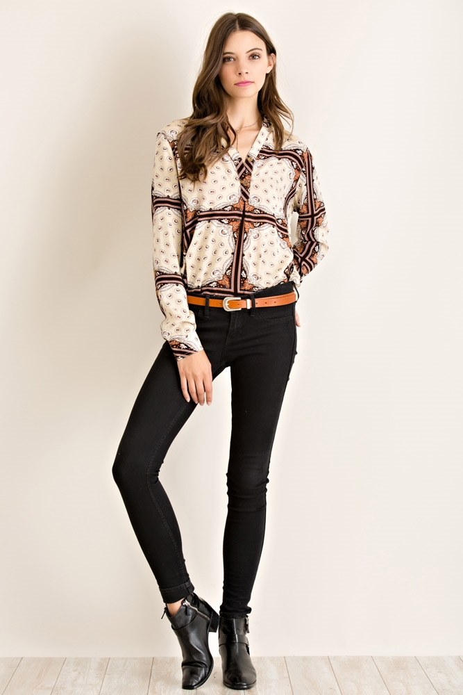 Floral Boho Long Sleeve Top - orangeshine.com