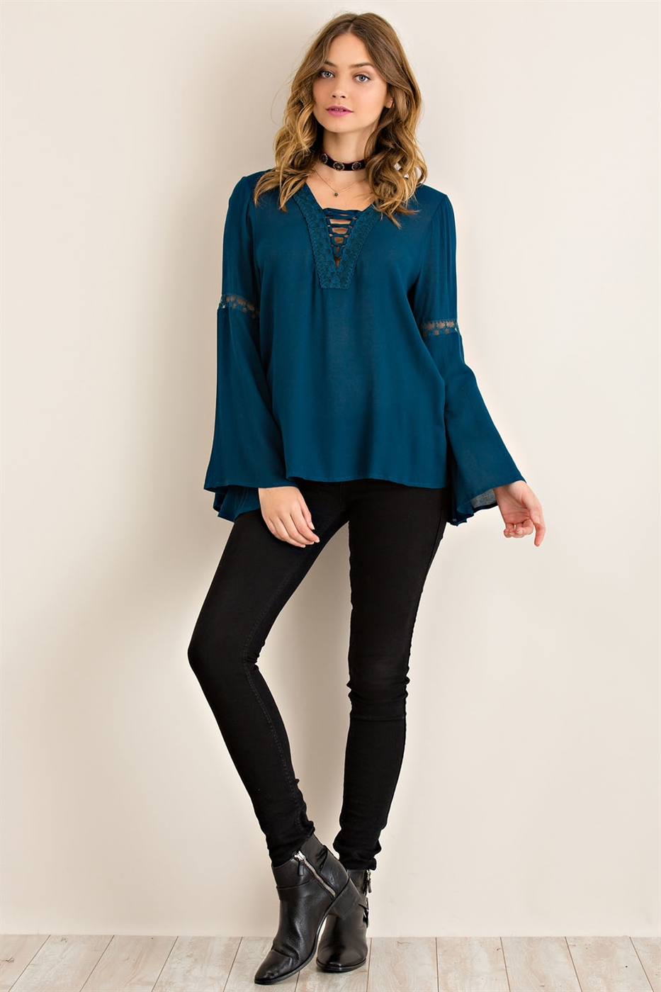 Solid Bell Sleeve Blouse - orangeshine.com