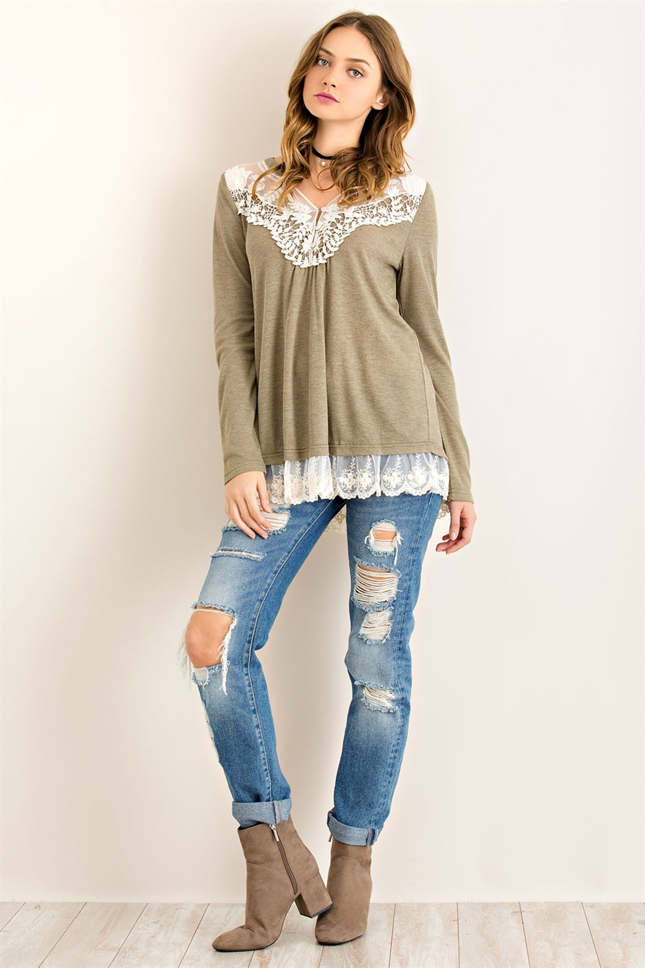 Solid Lace Ruffle Top - orangeshine.com