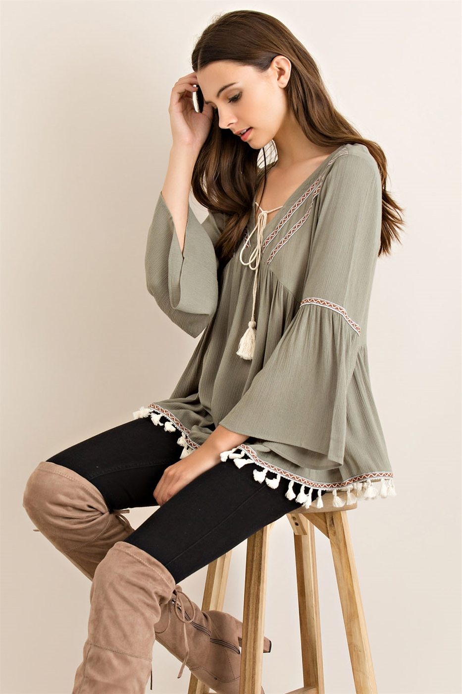 Solid Loose Fit Empire Blouse - orangeshine.com