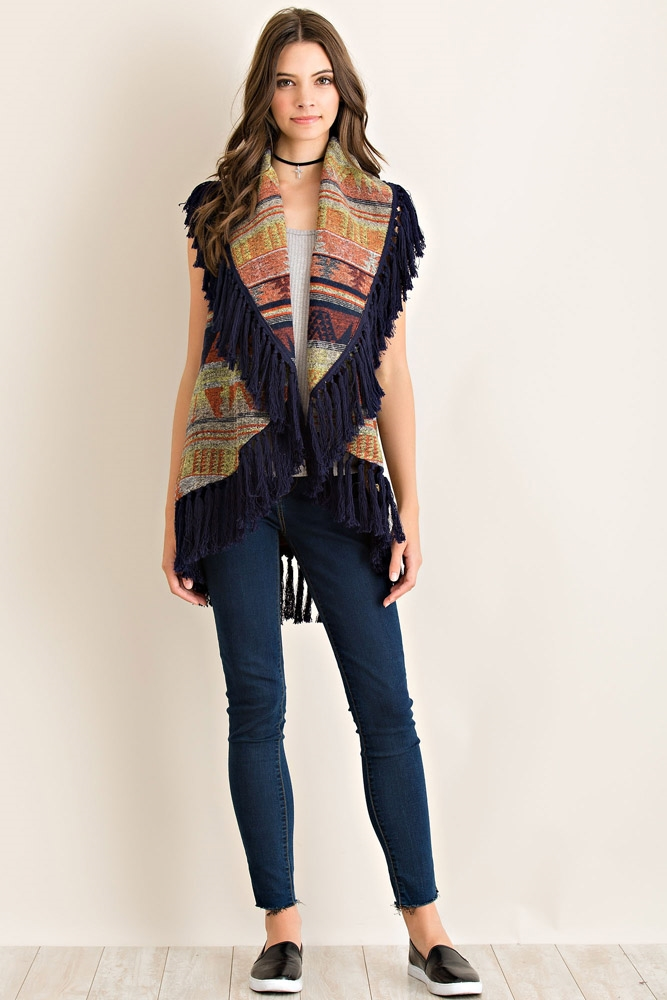Ethnic Print Draped Vest - orangeshine.com