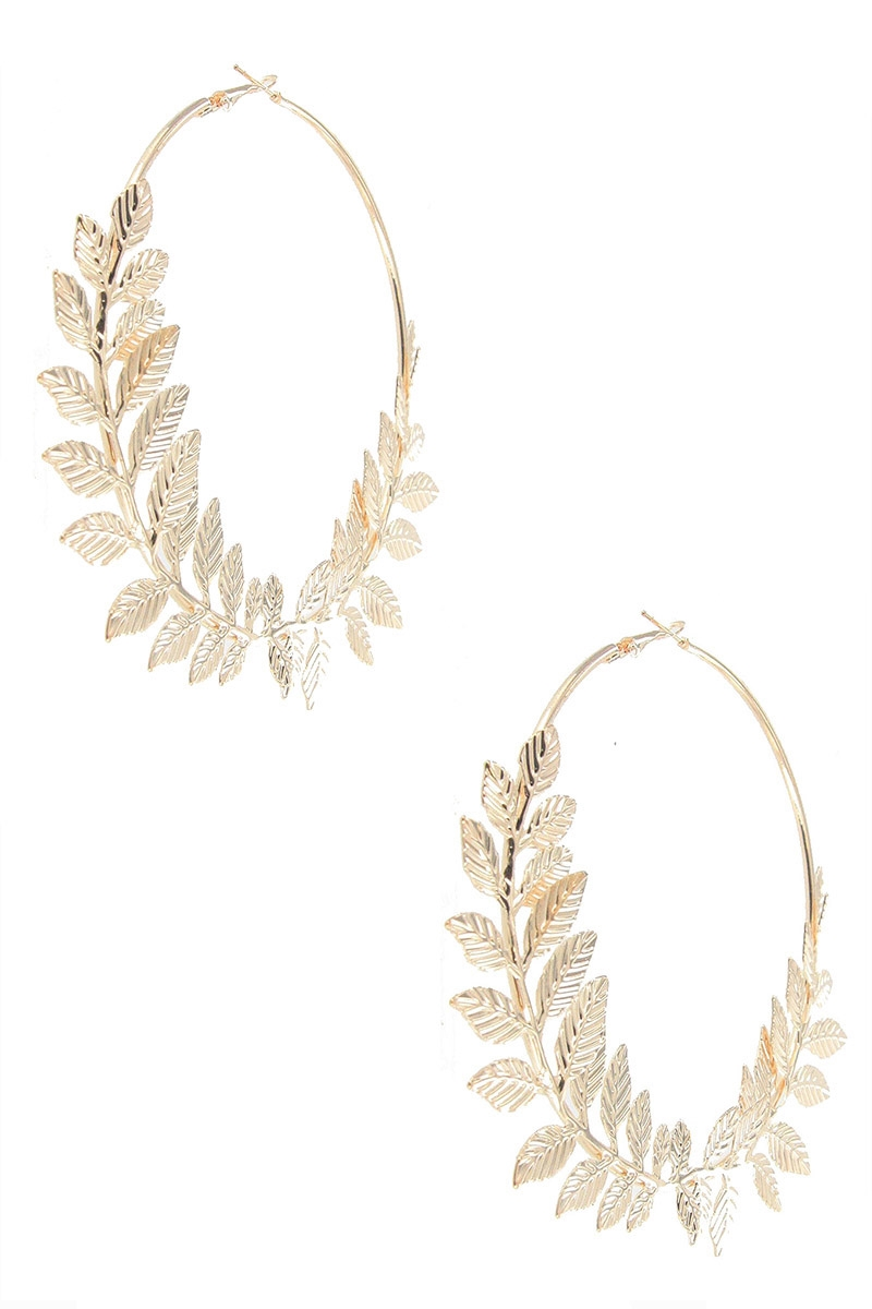 Leaf Hoop Earring - orangeshine.com