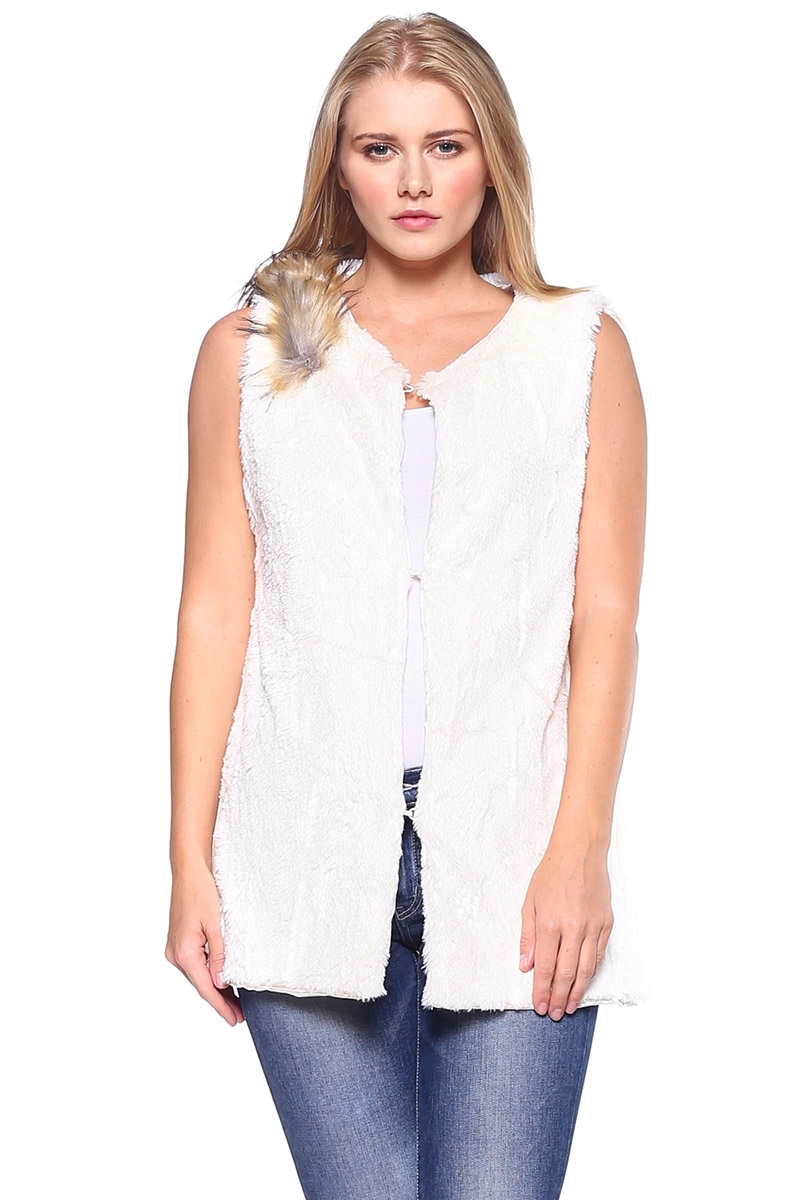 Fur Vest with Faux Fox Fur - orangeshine.com