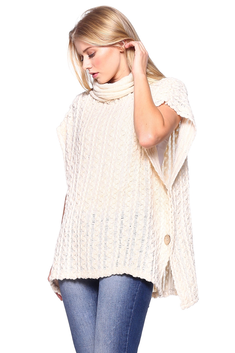 Cable Knit Poncho with Button - orangeshine.com