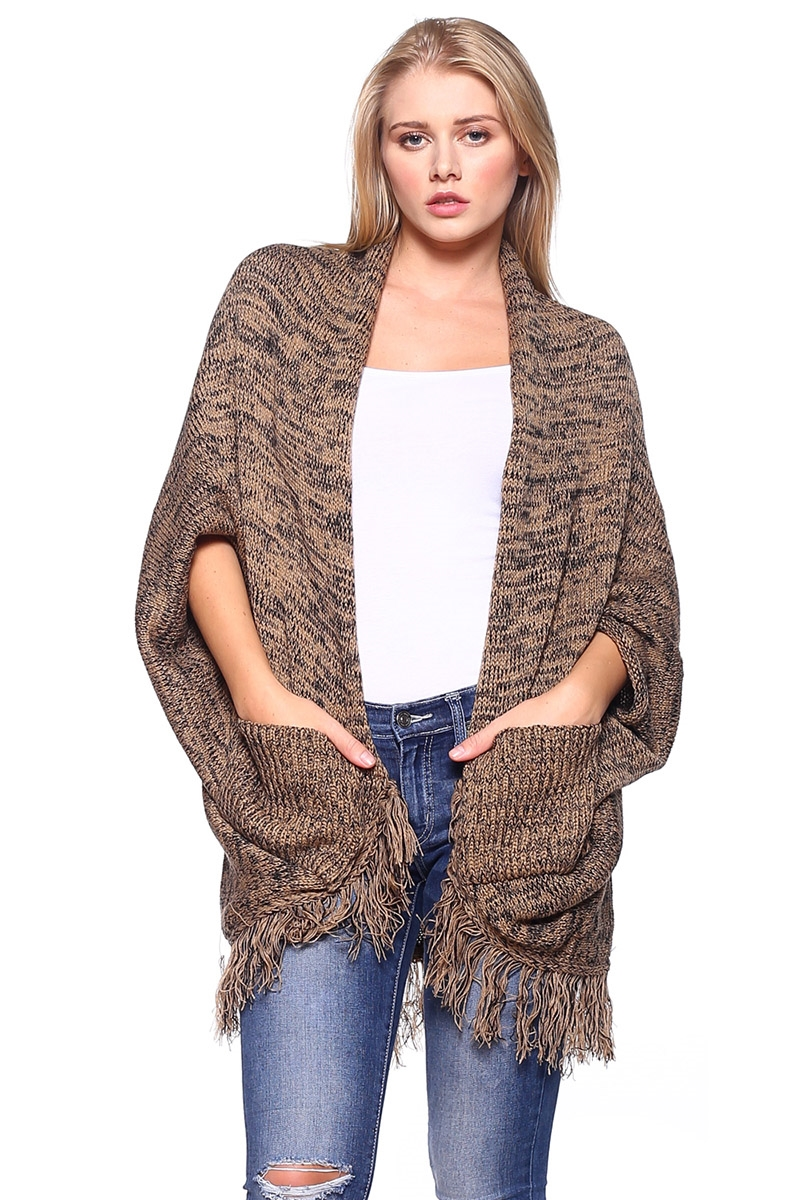 Fringe Knit Poncho with Pocket - orangeshine.com