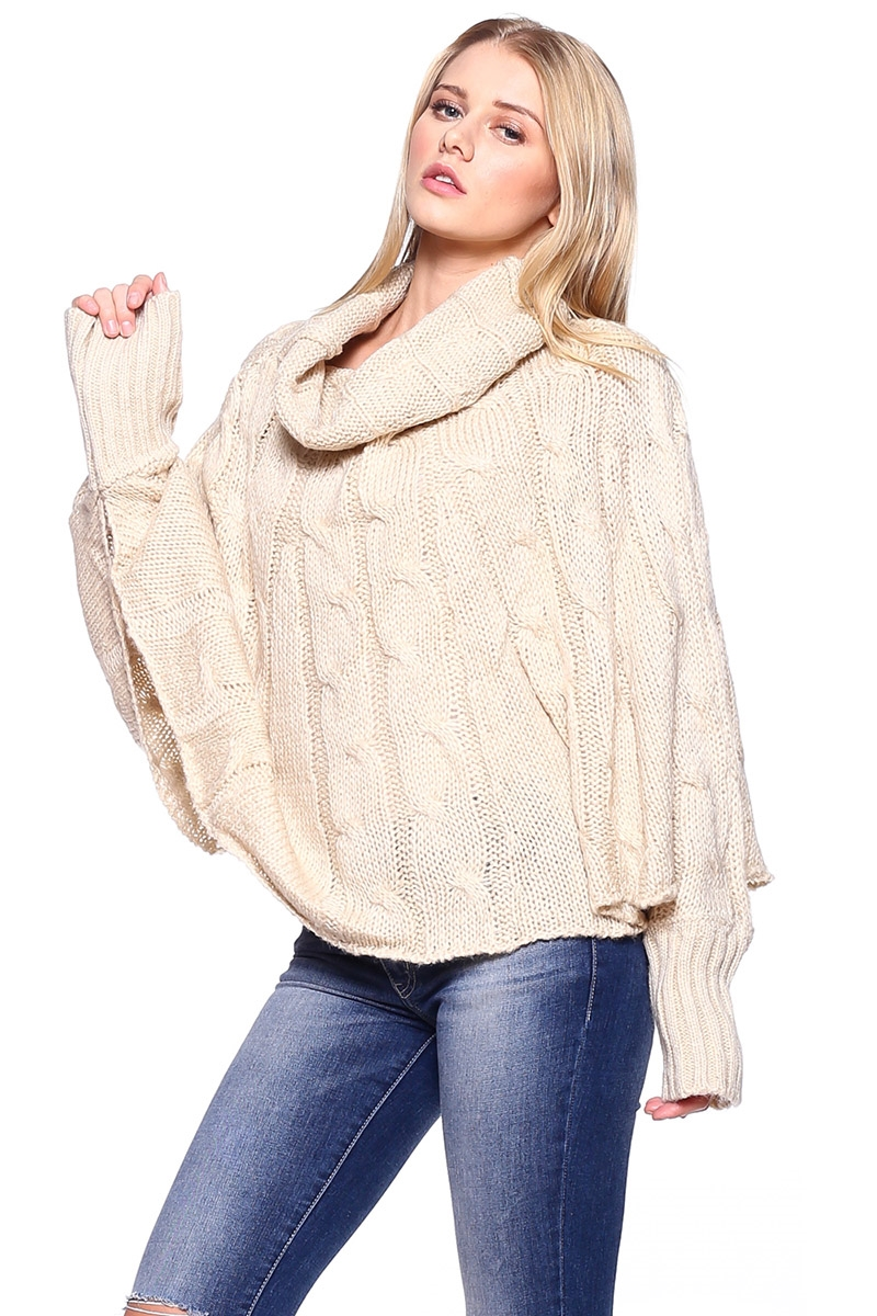 Cable Knit Poncho with Sleeves - orangeshine.com