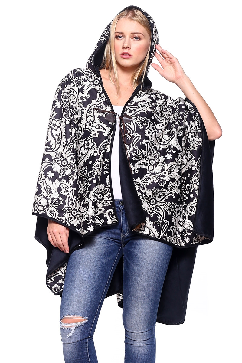 Feather Accent Paisley Poncho - orangeshine.com