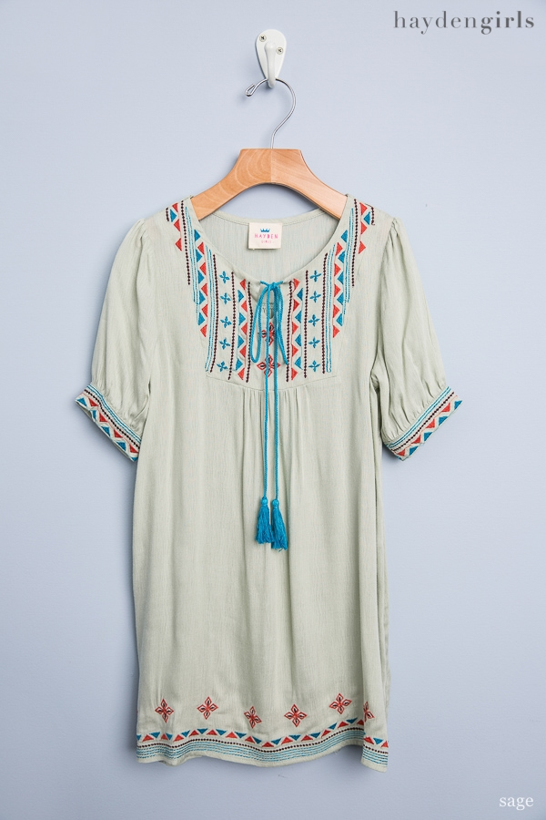 Embroidered Tunic Dress - orangeshine.com