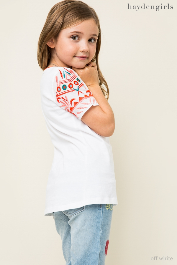 Colorful Embroidered Tee - orangeshine.com