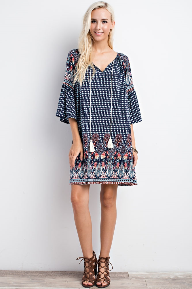 ORNATE PRINT PEASANT DRESS - orangeshine.com