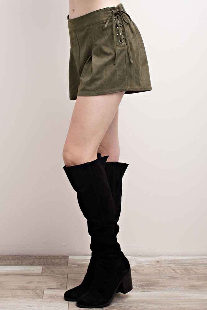 FAUX SUEDE SIDE LACE-UP SHORTS - orangeshine.com
