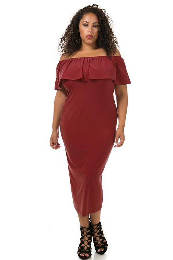 Ruffle off shoulder dress - orangeshine.com