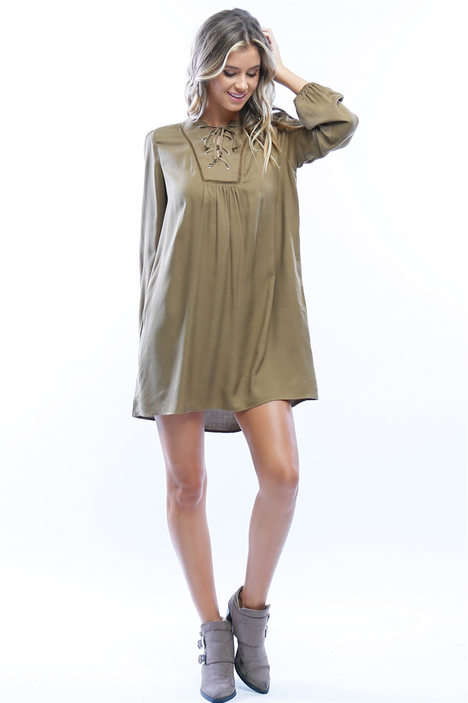 Lace-Up Shift Dress - orangeshine.com