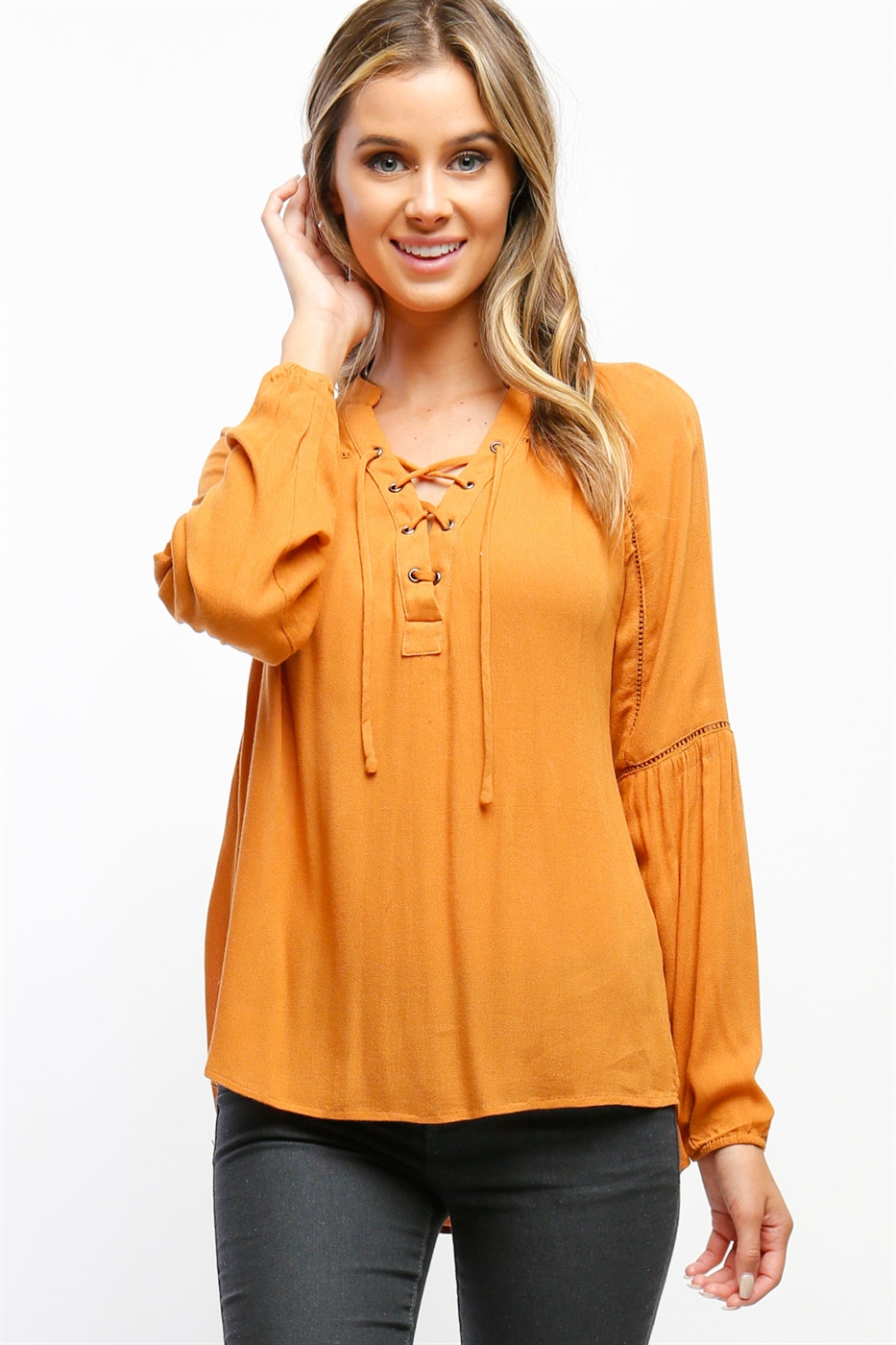 Lace Up Blouse - orangeshine.com