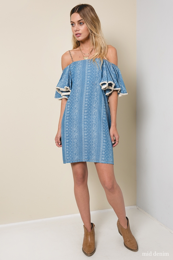 Off The Shoulder Shift Dress - orangeshine.com