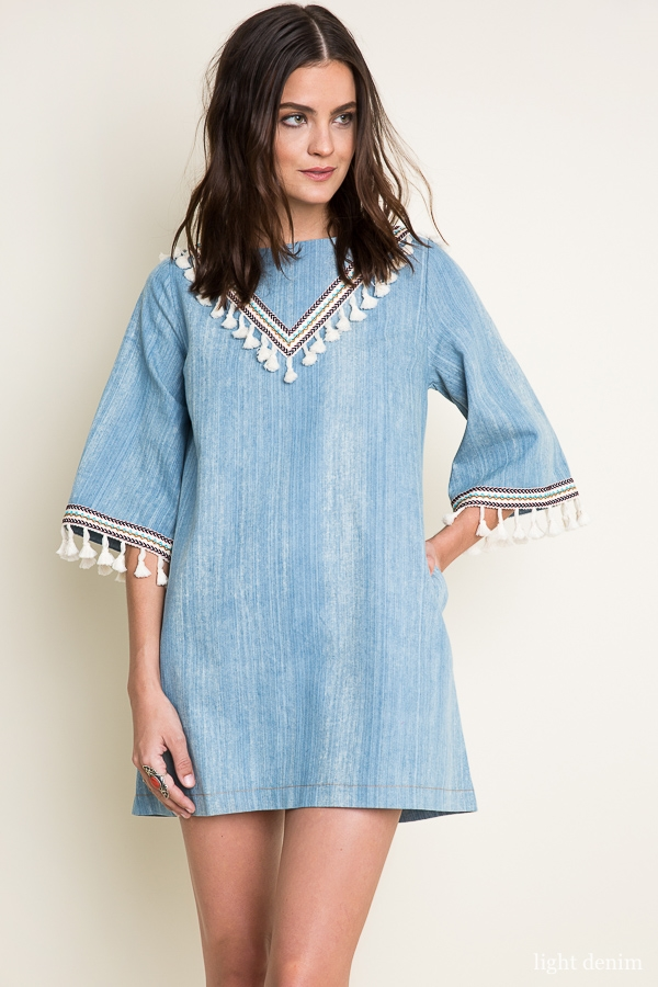 Washed Denim Dress With Tassel - orangeshine.com
