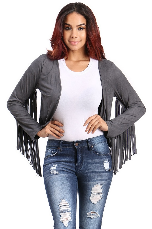 Suede sleeve fringes cardigan  - orangeshine.com