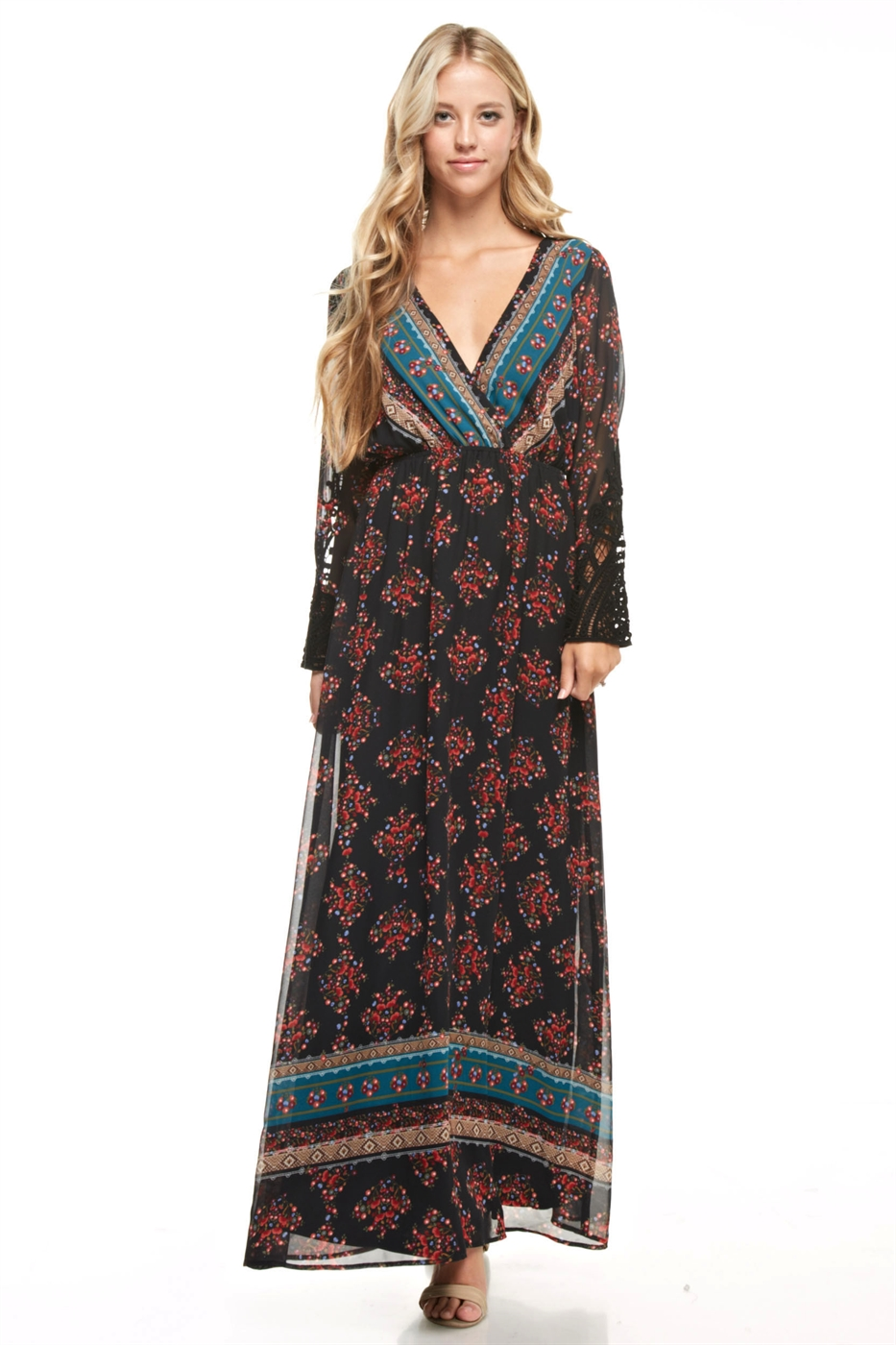 Long Sleeve Print Maxi Dress - orangeshine.com