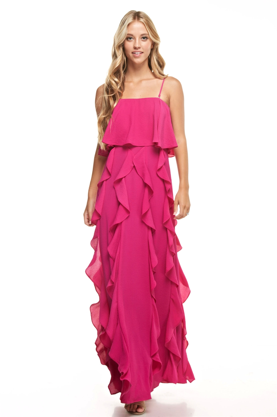 Ruffled Maxi Dress - orangeshine.com