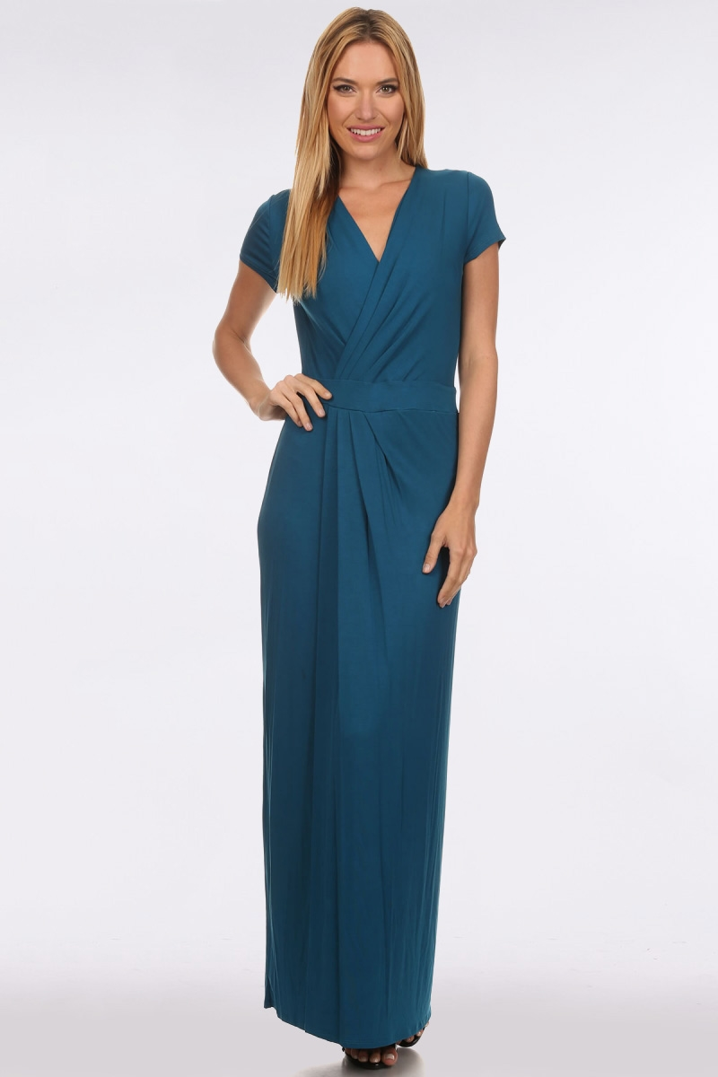 SURPLICE DRESS W/ WAISTBAND - orangeshine.com