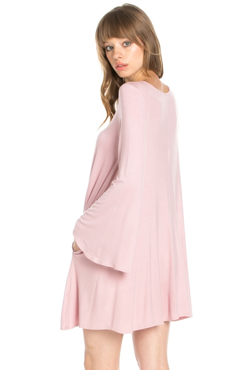 BELL SLEEVE POCKET SWING DRESS - orangeshine.com