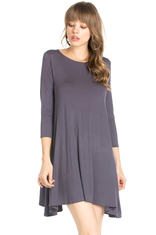 3/4 SLEEVE POCKET SWING DRESS - orangeshine.com