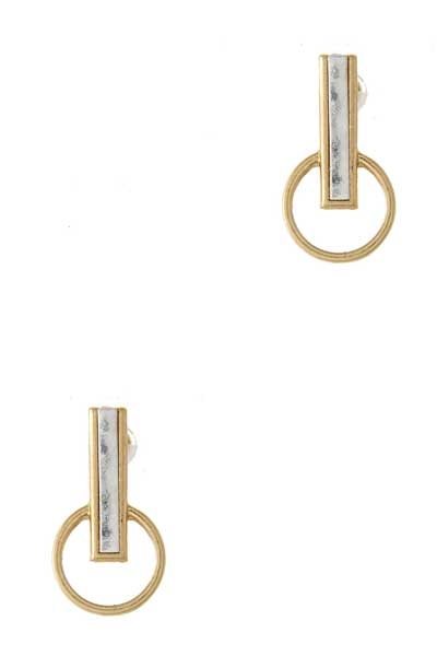TWO-TONE CIRCLE BAR EARRING - orangeshine.com