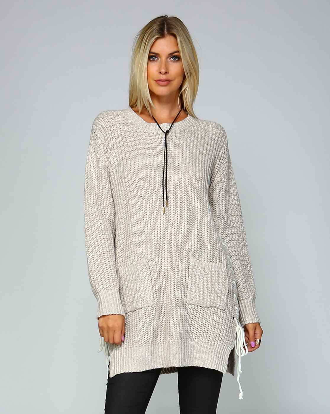 KNIT LACE UP SWEATER DRESS - orangeshine.com