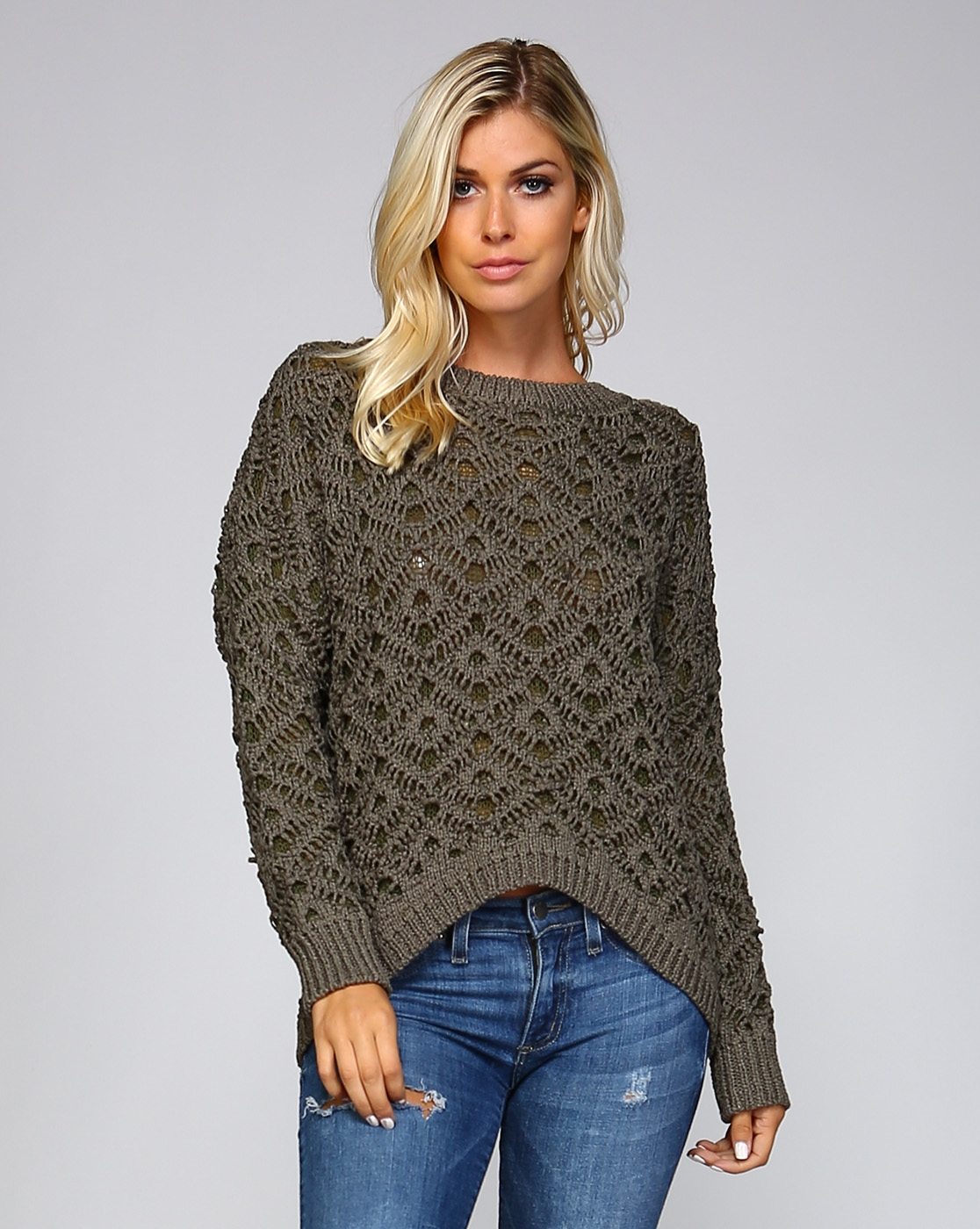DOUBLE KNIT HIGH LOW SWEATER - orangeshine.com