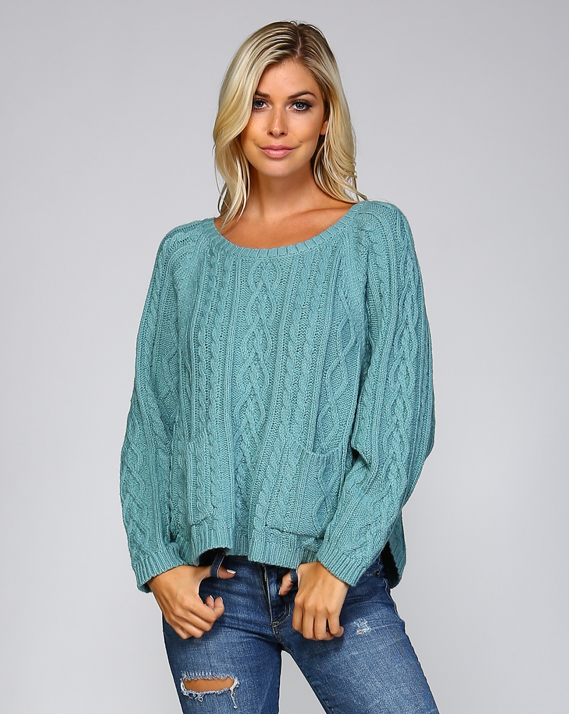 CABLE KNIT BATWING SWEATER - orangeshine.com