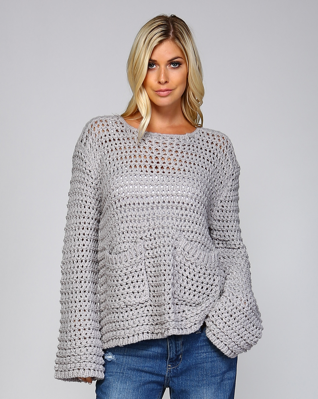 LOOSE CHUNKY KNIT SWEATER - orangeshine.com
