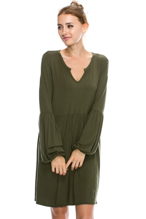 RUCHED PUFF LONG SLEEVE BOHO D - orangeshine.com