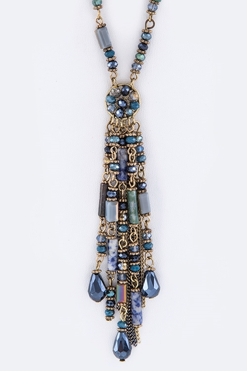 Mix Beads Tasseled Necklace  - orangeshine.com