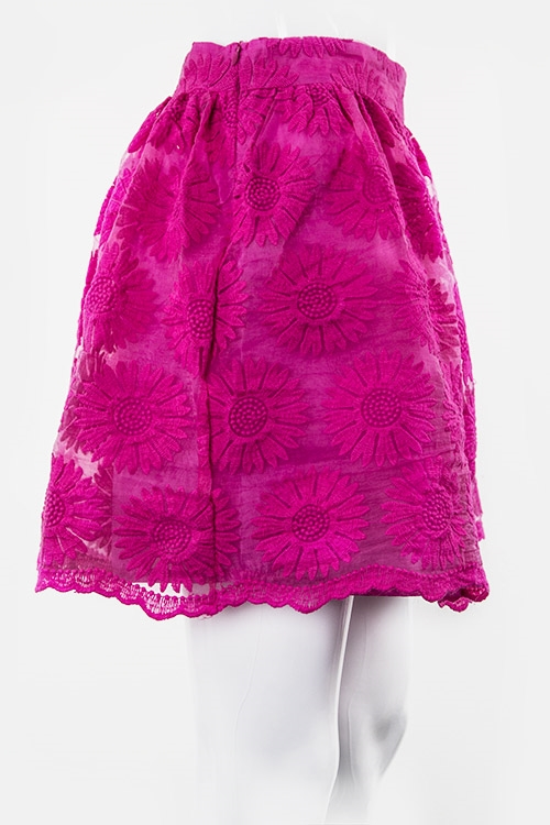 Floral Lace Overlay Zip Skirt - orangeshine.com