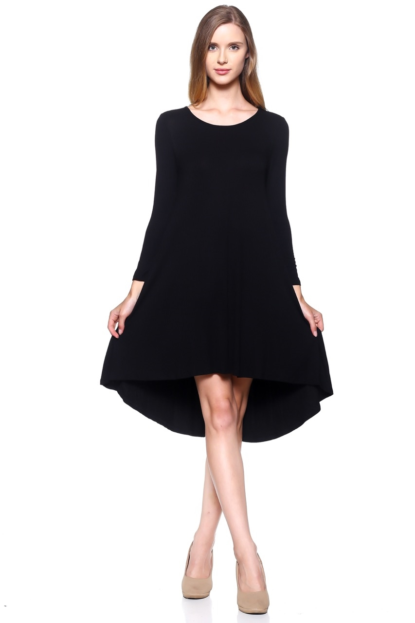 Rib Rayon Casual Dress - orangeshine.com