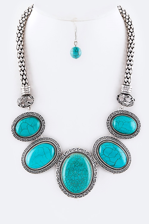 Oval Turquoise Necklace - orangeshine.com