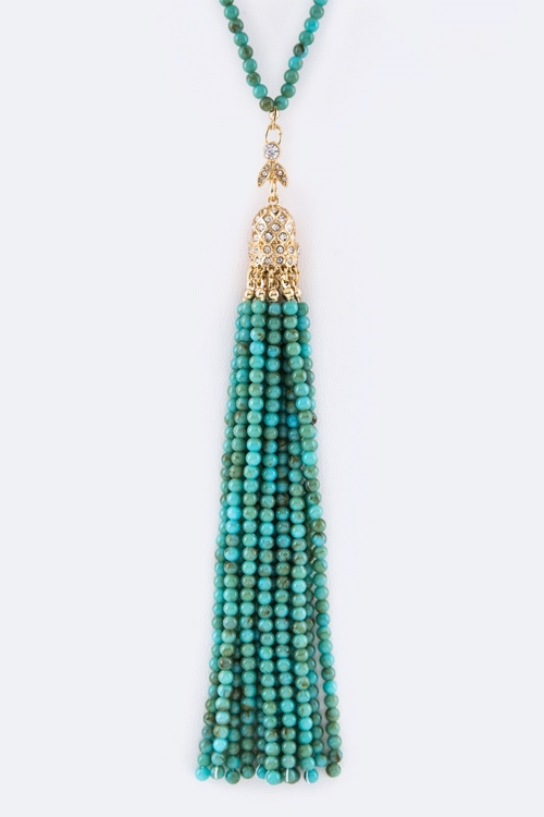 Bead Tassel Necklace - orangeshine.com