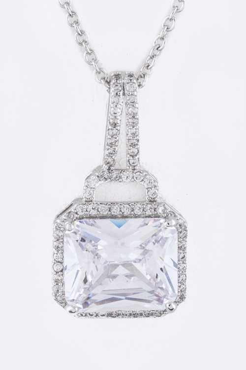 Square CZ Pendant Necklace - orangeshine.com