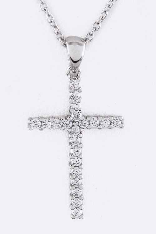 CZ Cross Pendant Necklace - orangeshine.com