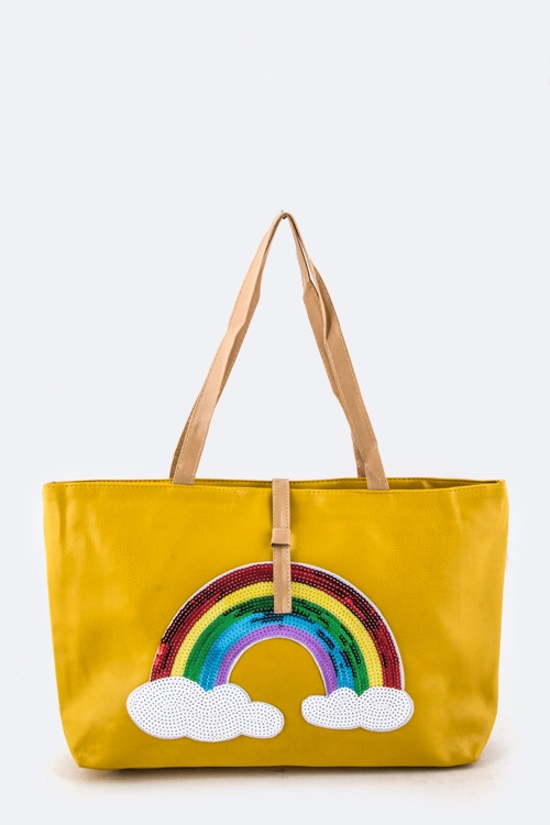 Sequins Rainbow Fashion Tote - orangeshine.com