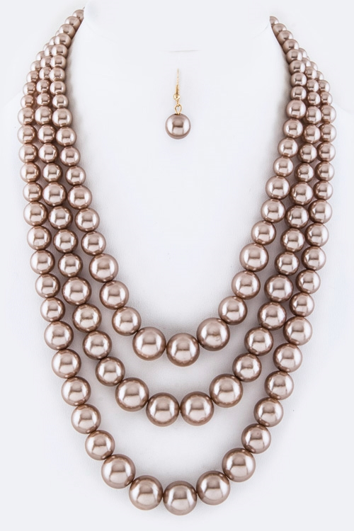 Layer Pearl Necklace Set - orangeshine.com