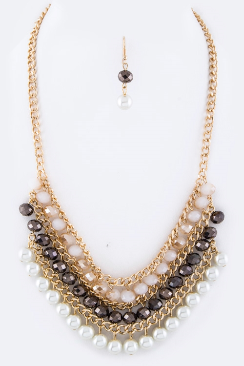 Beads  Pearl Layer Necklace  - orangeshine.com