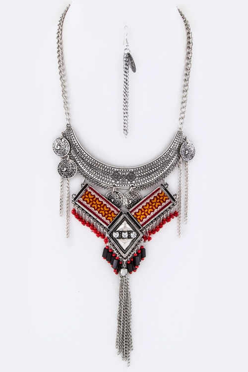 Fringe Beads  Coins Necklace - orangeshine.com